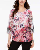 JM Collection Embellished Floral-Print Top, Created for Macy's