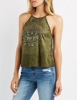Charlotte Russe Faux Suede Graphic Bib Neck Top