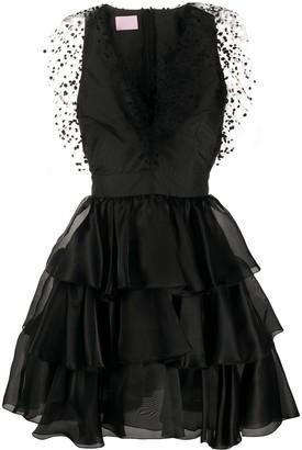 Giamba silk ruffle flared mini dress