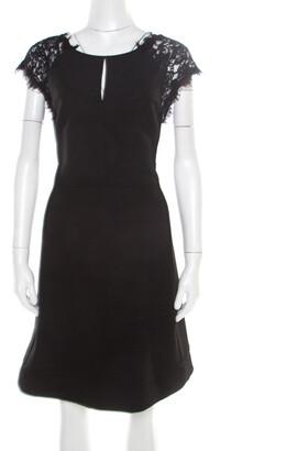 Diane von Furstenberg Black Floral Lace Bodice Detail Maddie Dress L
