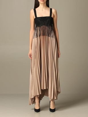 Pinko Pleated Jelly Dress With Lace And Fringes