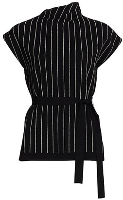 Proenza Schouler Chalk Stripe Knit Belted Top