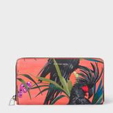 Paul Smith Women's Coral 'Cockatoo' Print Leather Zip-Around Purse