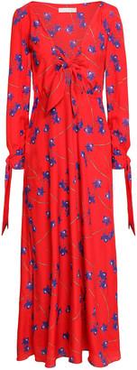 Borgo de Nor Knotted Floral-print Crepe De Chine Maxi Dress