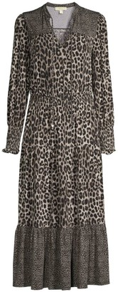 MICHAEL Michael Kors Mixed Animal-Print Tiered Dress