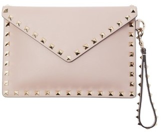 Valentino Rockstud Leather Envelope Pouch - Nude