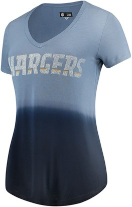 New Era Women's 5th & Ocean by Navy Los Angeles Chargers Dip Dye V-Neck T-Shirt