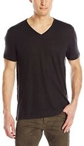 John Varvatos Men's Short Sleeve Knit V Neck T-Shirt with Pintuck Details