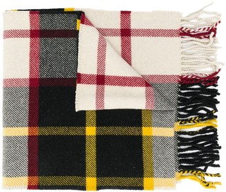 Jil Sander Check-Pattern Fringed Scarf