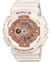 Baby-G White White Resin Multifunction Watch with Rose Gold Dial