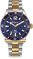 Salvatore Ferragamo 1898 Sport Gold IP and Stainless Steel Men's Bracelet Watch w/Blue Aluminum Rotating Bezel