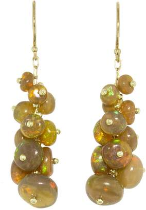 Ten Thousand Things Short Tapered Ethiopian Opal Bead Earrings - Yellow Gold