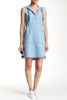Love Stitch Sleeveless Hooded Shirt Dress