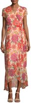 Neiman Marcus Floral-Print Short-Sleeve Maxi Dress