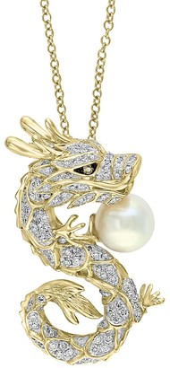 Effy 14K Yellow Gold, 8MM Freshwater Pearl & Two-Tone Diamond Dragon Pendant Necklace
