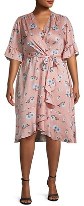 Emma & Michele Plus Floral Surplice Dress