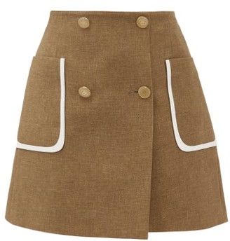 Fendi Buttoned Wool-blend Skirt - Womens - Brown Multi