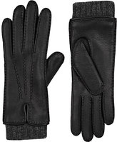 Barneys New York Women's Extended-Cuff Leather Gloves-BLACK, DARK GREY