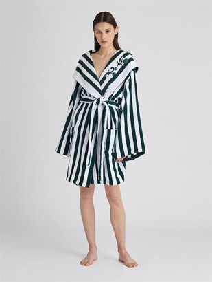 Oscar de la Renta Striped Cotton Terry Hooded Robe
