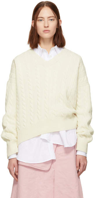 Off-White Cable Knit V-Neck Sweater