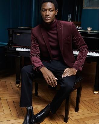 Express Slim Solid Burgundy Velvet Tuxedo Jacket