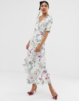 UNIQUE21 floral wrap short sleeve maxi dress