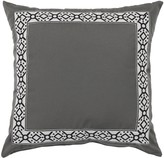 The Well Appointed House Pewter Designer Outdoor Pillow with Embroidered Black Tape