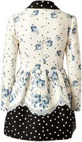 RED Valentino Cotton Jacquard Floral Print Coat with Polka Dot Trim
