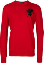 Alexander McQueen winged lion embroidered jumper