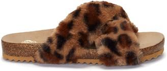 Vince Camuto Mayberla Faux Fur Crisscross-Strap Slide - Code: STEAL50