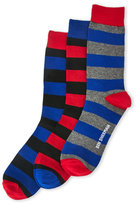 Ben Sherman 3-Pack Red & Blue Waldo Striped Crew Socks