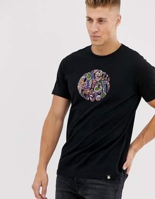Pretty Green paisley logo t-shirt in black