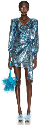 Andamane Carly Sequins Wrap Mini Dress in Blue Jeans | FWRD