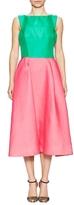Monique Lhuillier Structured Colorblock Flared Dress