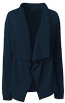 Lands' End Women's Tall Cotton Waterfall Cardigan-Radiant Navy