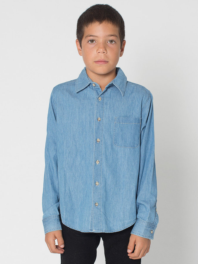 American Apparel Youth Denim Long Sleeve Button-Up