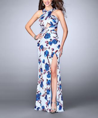 La Femme Women's Special Occasion Dresses Blue/Multi - Blue & White Floral Crisscross-Bodice Gown - Women
