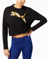 Puma dryCELL Rebel Metallic Logo Cropped Sweatshirt