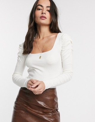 Asos Design DESIGN square neck jumper with volume sleeve-White