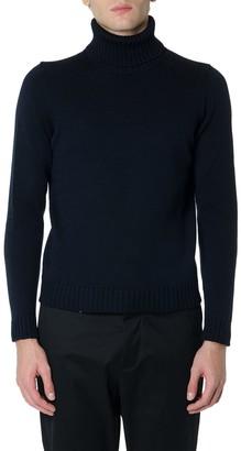 Zanone Black Wool Ribbed Sweater