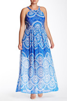 Taylor Printed Halter Maxi Dress (Plus Size)