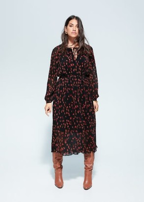 MANGO Violeta BY Pleated floral dress black - 14 - Plus sizes