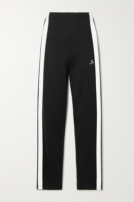 Balenciaga Striped Embroidered Tech-jersey Track Pants - Black