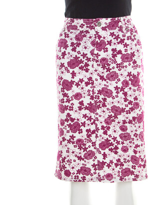 Dolce & Gabbana White and Pink Floral Printed Stretch Cotton Skirt M