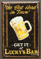 (2x3) Lucky's Bar Best Head in Town Beer Mug Distressed Retro Vintage Locker Refrigerator Magnet