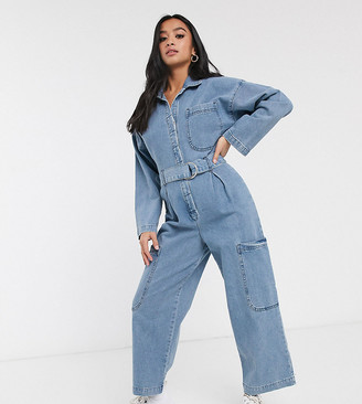 ASOS DESIGN Petite denim boilersuit with utility pocket in light wash blue