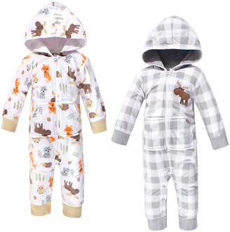 Hudson Baby Boys' Bunting Suits Woodland - Gray Buffalo Check & Forest Animals Hooded Pocket Playsuit Set - Newborn & Infant