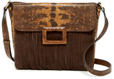 Sondra Roberts Camo Lizard Embossed Leather & Suede Fringe Crossbody