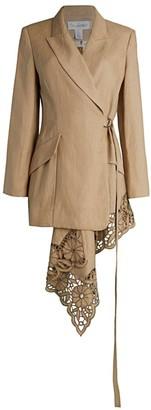 Oscar de la Renta Asymmetric Lace & Linen Tie Jacket