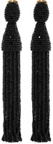Oscar de la Renta Beaded Clip Earrings - Black
